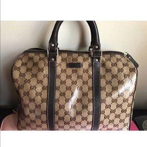 Gucci Boston Bag Signature GG Patent Handbag